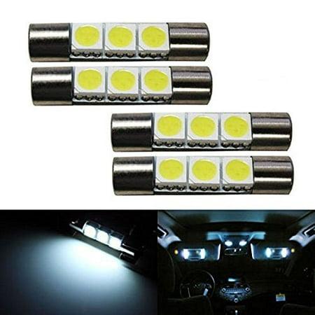 iJDMTOY (4) 3-SMD 29mm 6614F LED Replacement Bulbs For Car Sun Visor Vanity Mirror Lights, Xenon White (Sun Visor Led)