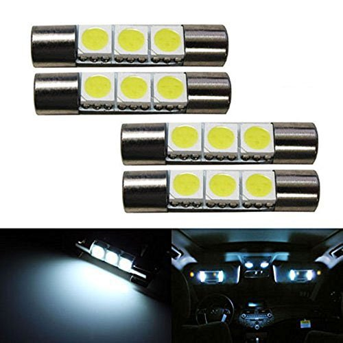 Ijdmtoy 4 3 Smd 29mm 6614f Led Replacement Bulbs For Car Sun Visor Vanity Mirror Lights Xenon White Walmart Com Walmart Com