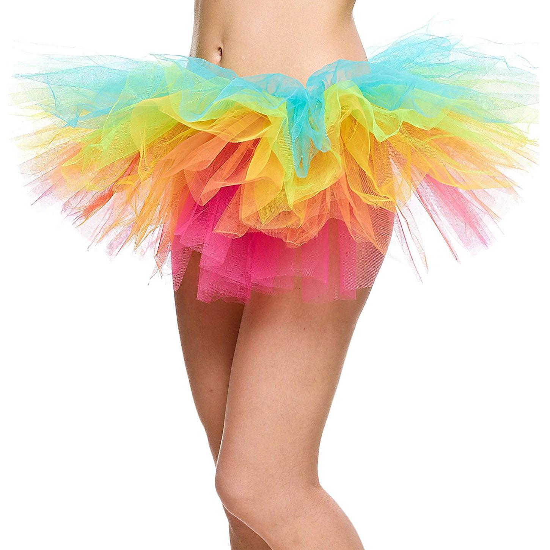 5 Layers Organza Ballet Tutu Bustle Costume Dance Ballerina Skirt, Rainbow
