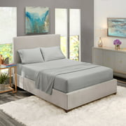 Deep Pocket 4 Piece Bed Sheet Set, Available in King Queen Full Twin and California King, Soft Microfiber, Hypoallergenic, Cool & Breathable, Bedding Bed Sheets set by Clara Clark (Queen, Silver Gray)