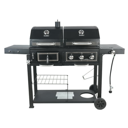 RevoAce Dual Fuel Gas & Charcoal Combo Grill, Black with Stainless Steel Accents, GBC1793W