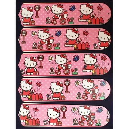 Ceiling Fan Designers 52SET-KIDS-HKSDK Hello Kitty Sweet Dreams 52 inch Ceiling Fan Blades Only (Teak 52 Inch Fan Blades)