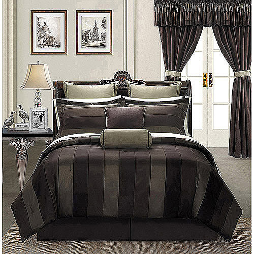 EverRouge Midnight 24 Piece Room In A Bag Bedding And Windows Treatment Set