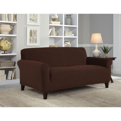 Tailor Fit Stretch Grid Sofa Slipcover Chocolate