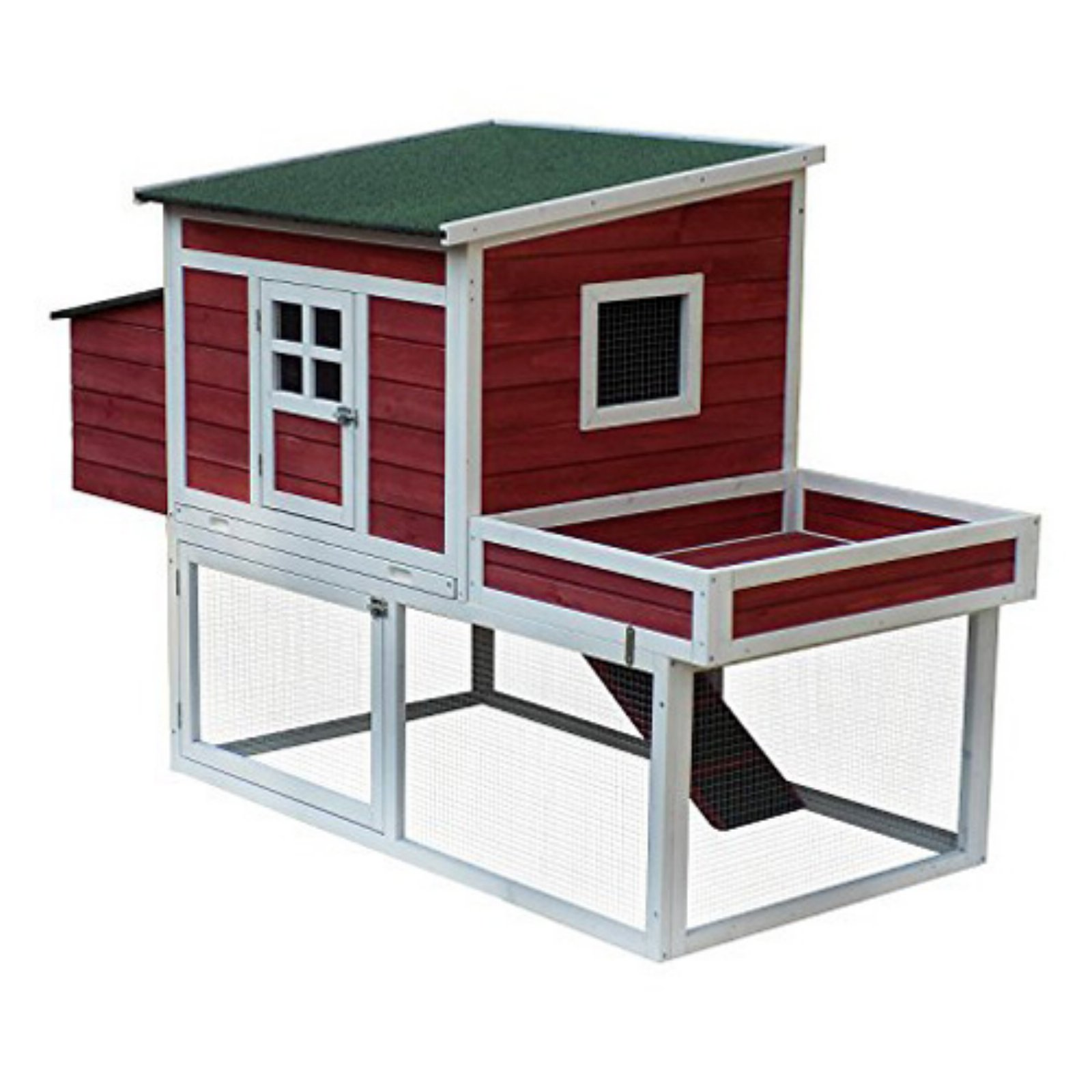 Pawhut Farmhouse Shed Chicken Coop with Nesting Box and Run