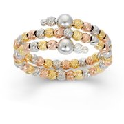 Rhodium and 14kt Gold and Rose Gold-Plated Sterling Silver DC Bead Ring