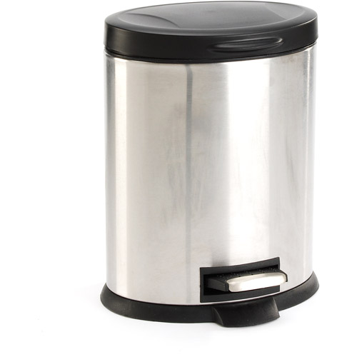 Mainstays Round 1.3-Gallon Trash Can, Stainless Steel