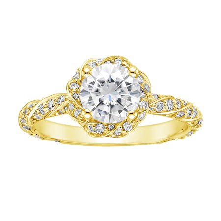 1-1/3 Carat T.W. Swarovski stone Sterling Silver Yellow Plated Twisted Shank Engagement Ring.