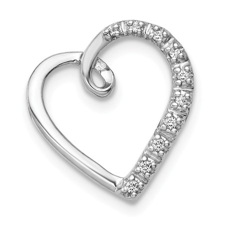 - Roy Rose Jewelry 14K White Gold Diamond Heart Chain Slide Pendant 1/20-Carat