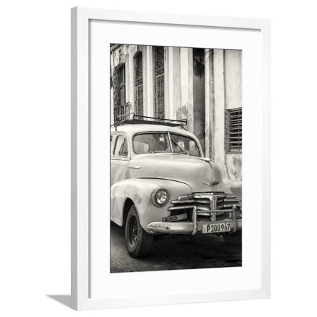 Cuba Fuerte Collection B&W - Old Chevy in Havana III Framed Print Wall Art By Philippe Hugonnard