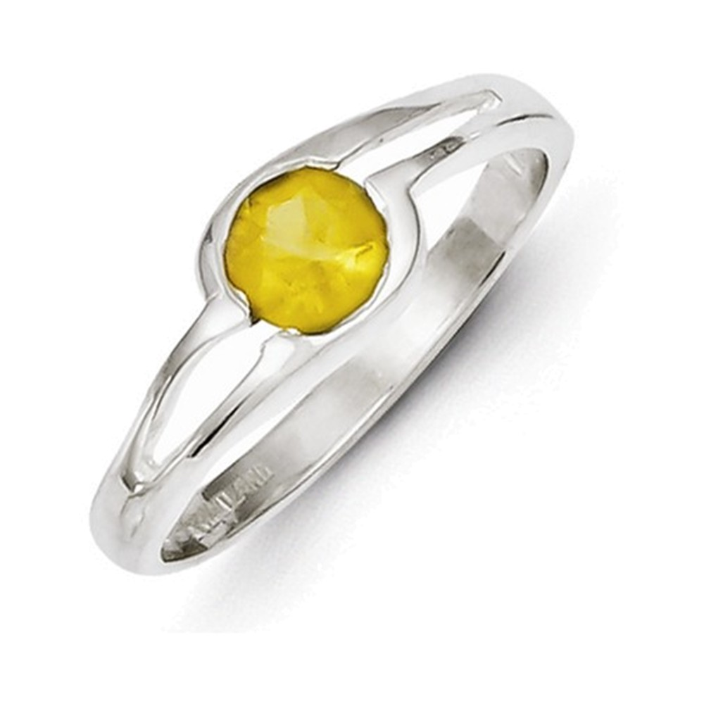 Sterling Silver Yellow Round Bezel CZ Ring Size 8