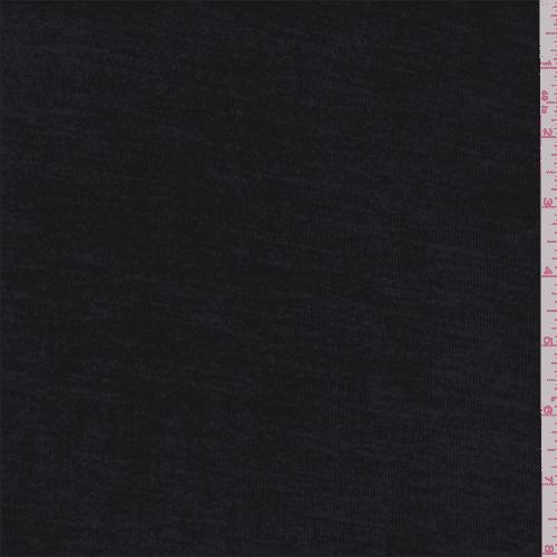 Onyx Black Rib Jersey Knit, Fabric By the Yard