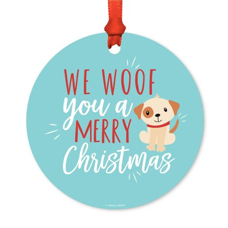 Funny Animal Round Metal Christmas Ornament, We Woof You a Merry Christmas, Dog Graphic, Includes Ribbon and Gift Bag