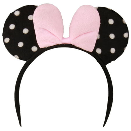 Enimay Childrens Girls Mickey Mouse Headband Dress Up Halloween Baby Shower Costume Pink Dots One - Mickey Mouse Baby Costume Halloween
