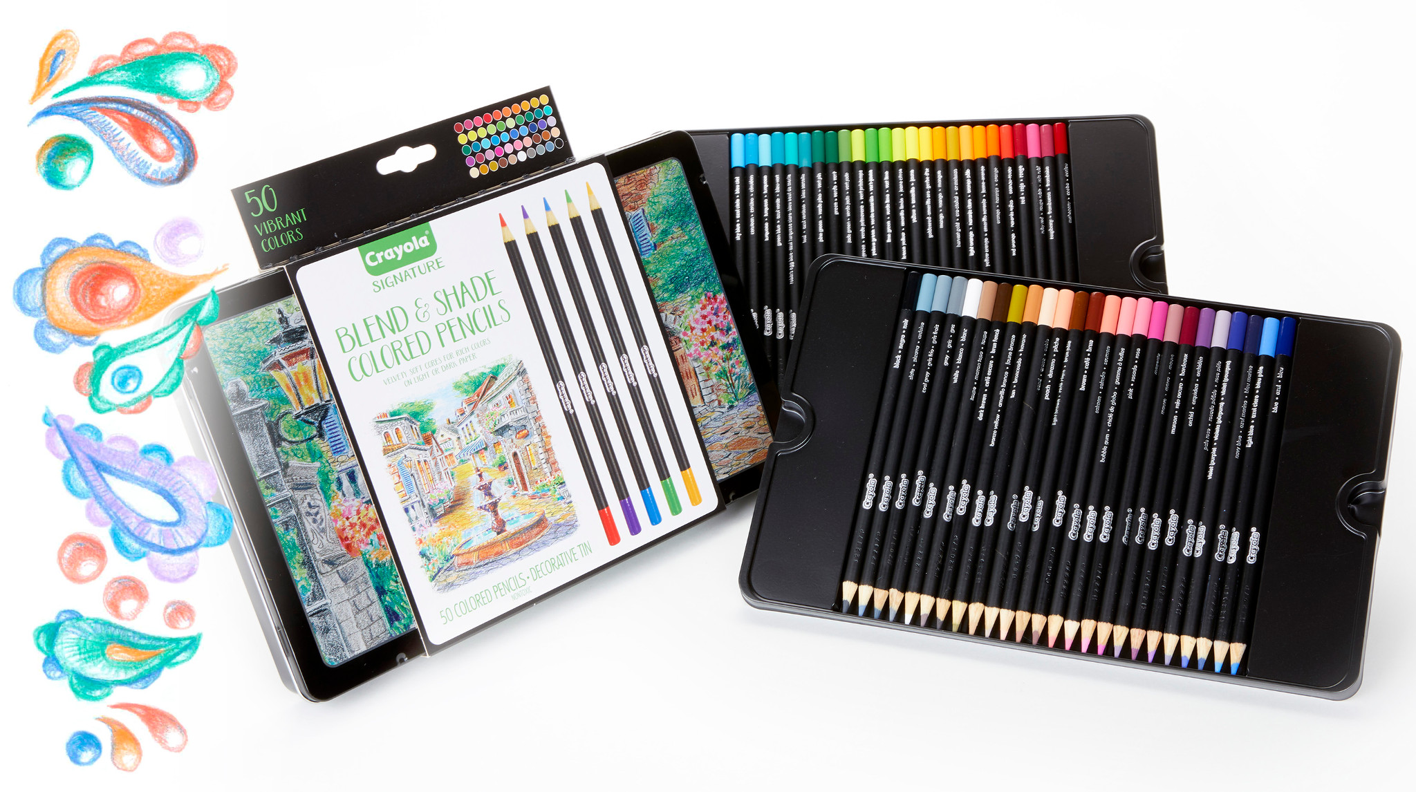 Crayola 50 Piece Signature Blend & Shade Colored Pencils With Decorative Tin by Crayola