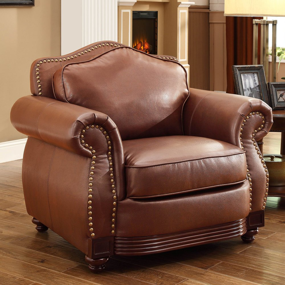 INSPIRE Q Myles Traditional Chocolate Bonded Leatr Rolled Arm Chair by  Classic