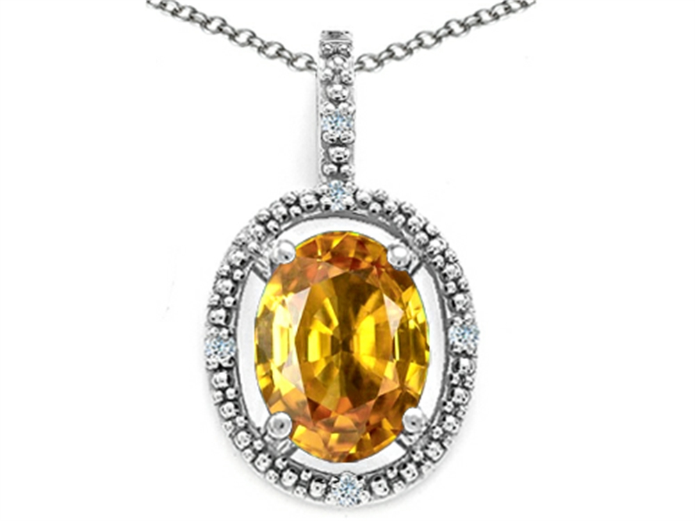Tommaso Design Oval 9x7mm Genuine Citrine Pendant Necklace by
