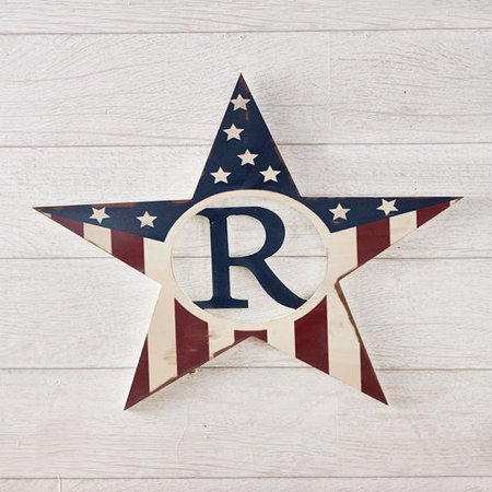 Monogram Patriotic Star Wall Hangings-R