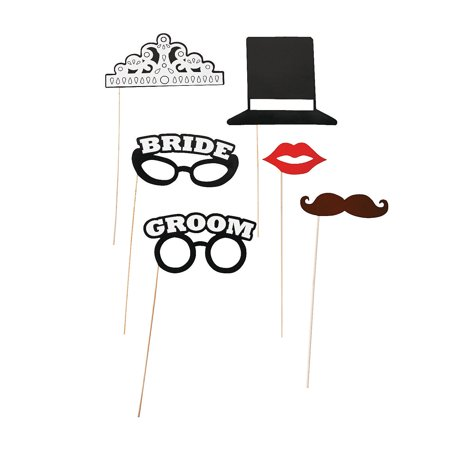 IN-13632714 Bride and Groom Photo Stick Props By Fun Express - Halloween Bride And Groom Props