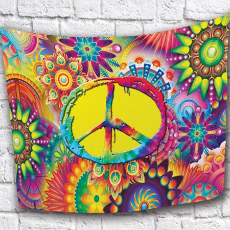 NEW!! Groovy Peace Sign FleeceThrow Blanket. Size 50