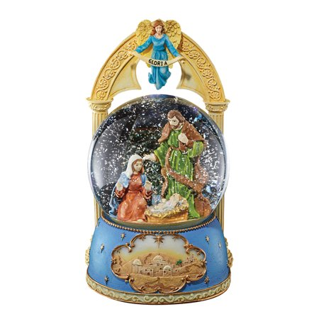 Musical Nativity Snow Globe Christmas Tabletop Decoration - Plays Silent Night