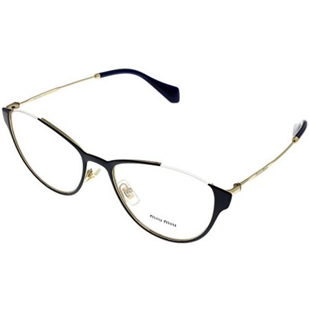Miu Miu Prescription Eyewear Frames Women Semi Rinless Cat Eye Blue MU 51OV UE61O1 Size: Lens/ Bridge/ Temple: (Miumiu Eyewear)