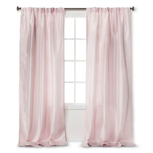 Simply Shabby Chic Pink Faux Silk Pleated Lined Curtain Panel 40X84 EUC