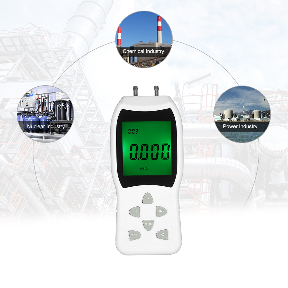 Suitable for Electrical Industry Has Automatic Power Off and Data Hold Function N2 Portable High Precision Dual Port Digital Manometer with Backlight LCD Display