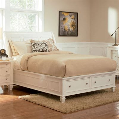 Sandy Beach Collection 201309KW California King Size Storage Bed with 2 Drawers  Silver Knob Hardware  Turned Legs  Tropical Veneer and Hardwood Construction in White Finish