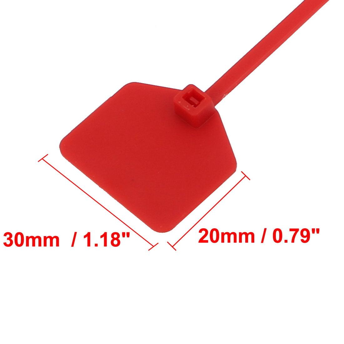50pcs 220mm Length Nylon Self-Locking 30mm x 20mm Label Cable Tie Zip Red - image 2 de 3