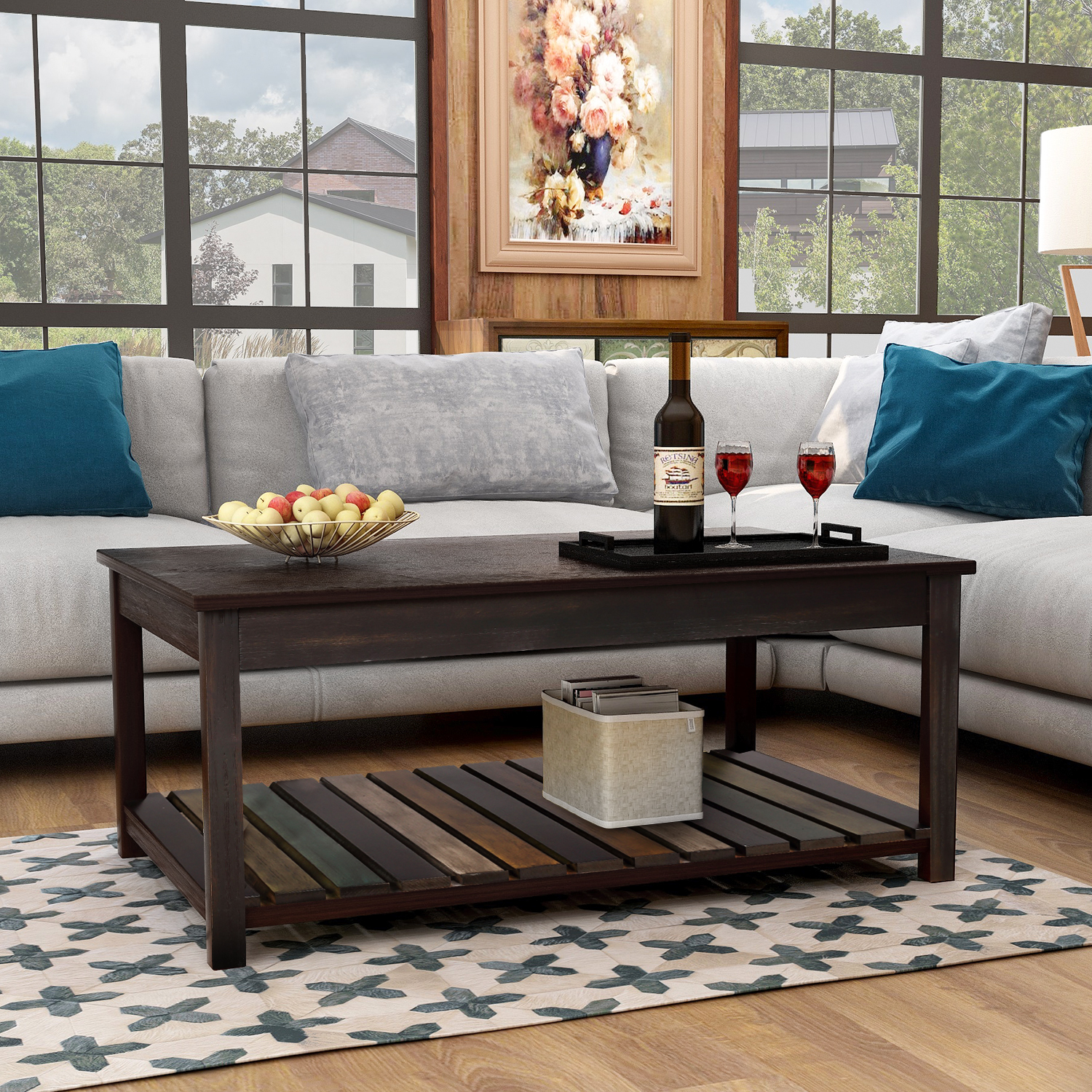 Wooden Wood Top Coffee Table For Living Room Segmart 43 X 37 X 18 Simple Design Coffee Table W Spacious Lower Shelf For Storing Coffee Table Books Magazines Furniture Decor 140lbs S13999