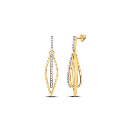 Solid 10k Yellow Gold Round Diamond Oblong Oval Stick Dangle Earrings 1/6 Ct.