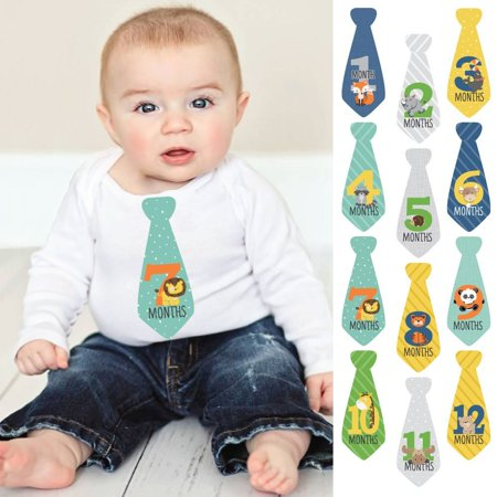 Zoo Animals - Tie Baby Boy Monthly Stickers - Baby Shower Gift Ideas - Necktie 12 Piece - January Craft Ideas