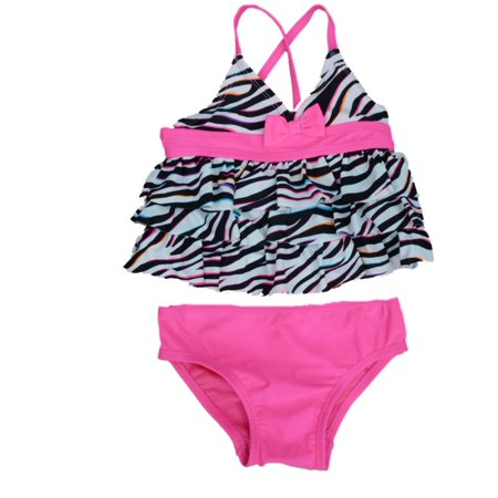 76b97f5b49 Joe Boxer - Joe Boxer Toddler Girls Pink   Black Ruffle Swimming Suit Swim  2 Piece - Walmart.com