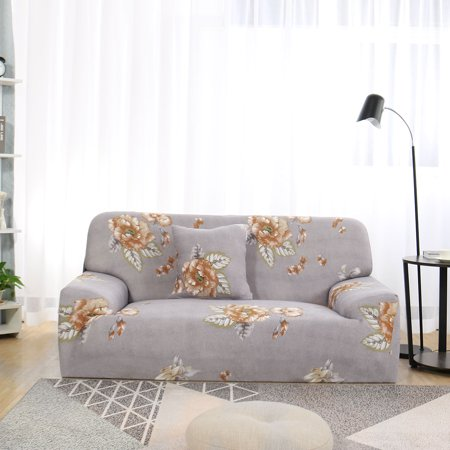 Stretch Thick Floral Sofa Cover with 1 Cushion Cover 4 Seater Slipcover Couch Cover #F 92