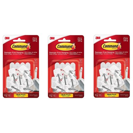 Wire Hooks Value Pack, Small, White, 9-Hooks (17067-9ES) (3-PACK), Rearrange as often as you like; easy to apply, easy to reposition without surface.., ByWalmartmand
