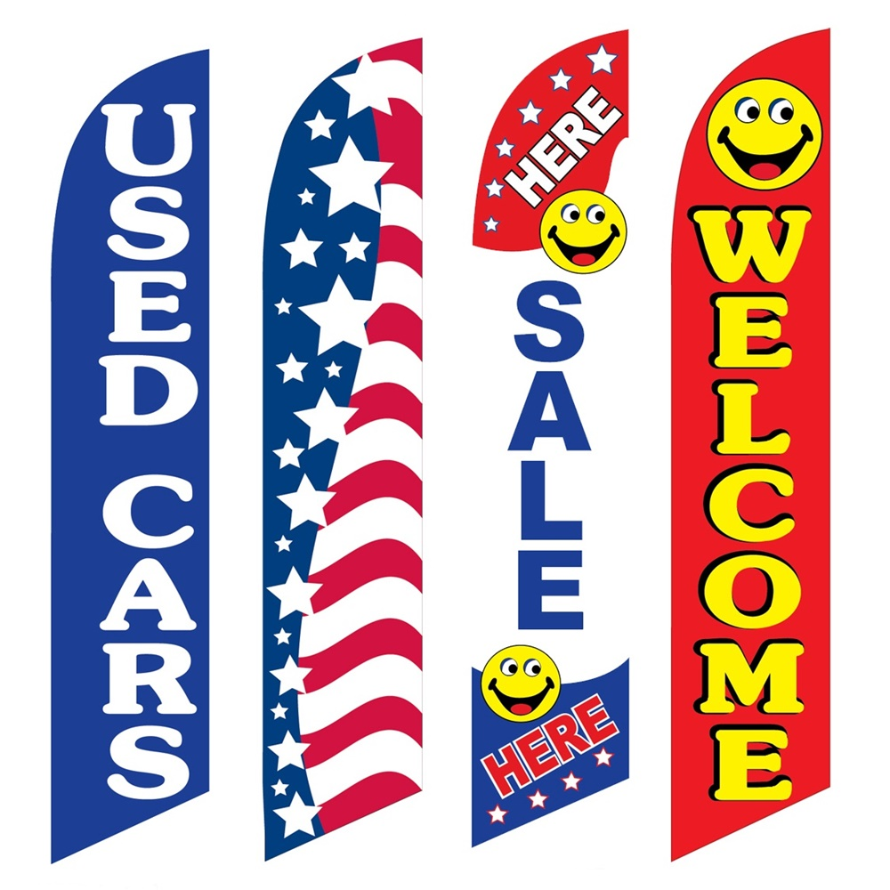 4 Advertising Swooper Flags Used Cars Patriotic Sale Here Welcome