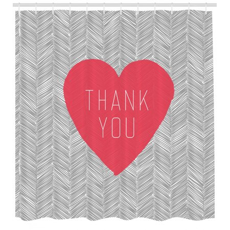 Thank You Shower Curtain, Centered Big Heart Text Inside Short Stripes Love Theme Hatched Style, Fabric Bathroom Set with Hooks, 69