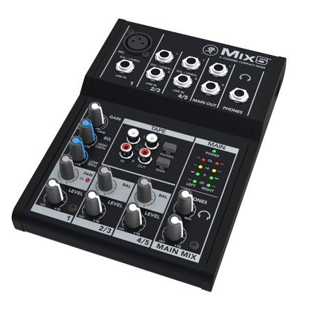 Mackie Mix5 5-Channel Compact Mixer (4 Channel Video Mixer)