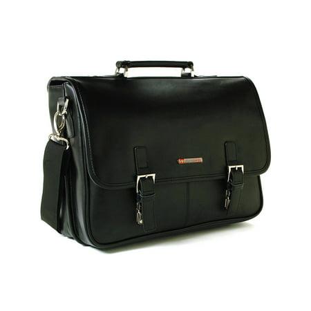 Leather Briefcase Laptop Case Messenger Bag *1 Year Mfg