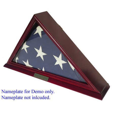 Solid Wood Elegant 5 x 9.5' Flag Display Case for Burial/Funeral/Memorial Flag, Cherry (Burial Flags For Veterans Of Military Service)