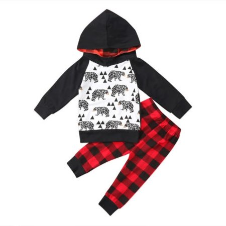 2PCS Newborn Toddler Baby Boy Cartoon Hoodie Sweatshirt Top+Checked Pants - Cartoon Character Outfit Ideas
