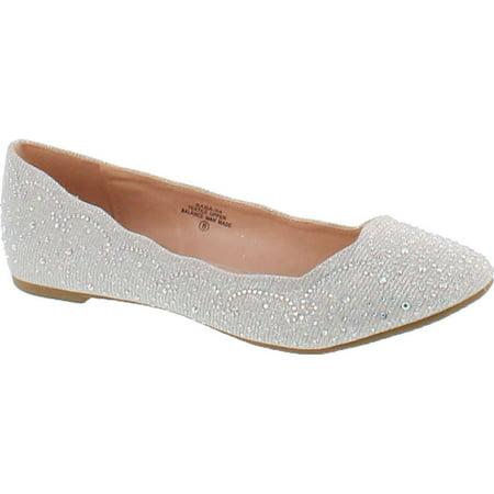 de Blossom Footwear Women's Baba-54 Sparkly Crystal Rhinestone Ballet (Best Footwear For Flat Feet)