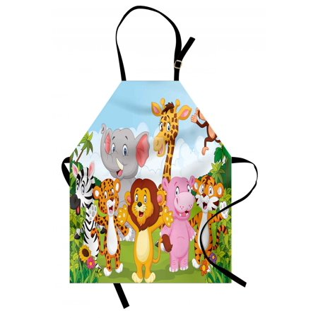 Nursery Apron Comic African Savannah Animals Playful Friendly Safari Jungle Happy Wildlife Nature, Unisex Kitchen Bib Apron with Adjustable Neck for Cooking Baking Gardening, Multicolor, by Ambesonne