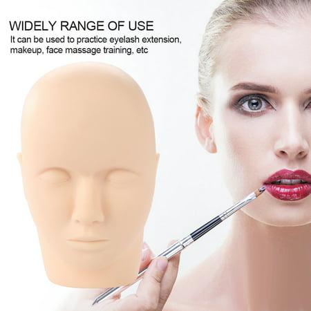 Qiilu Eyelash Practice Mannequin, Headform Mannequin,Soft Rubber Eyelash Graft Makeup Massage Practice Training Fake Headform Mannequin - image 9 of 12