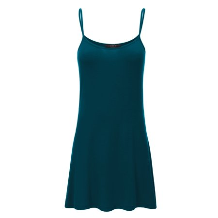 Made By Johnny MBJ WDR1111 Womens Solid Basic Spaghetti Strap Tunic Top XL Teal