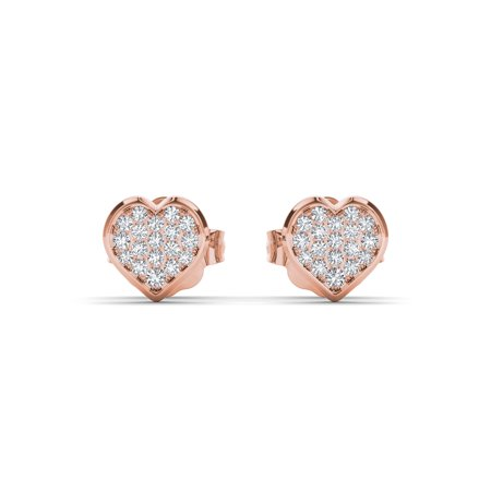 1/10Ct TDW Diamond 10K Rose Gold Heart Shape Cluster Stud Earrings (Gold Diamond Cluster Earrings)