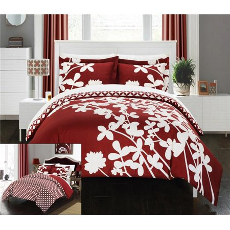 Chic Home DS3753-BIB-US Sweetpea Reversible Scale Floral Design Printed, Diamond Pattern Reverse Duvet Cover Set with Sheets - Red - King & Large - 7 Piece (Red Duvet)