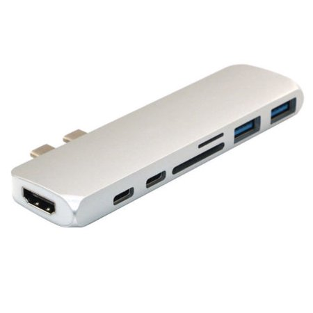 - 7in1 USB-C Hub Dual Type-C Multiport Card Reader Adapter 4K HDMI For MacBook Pro