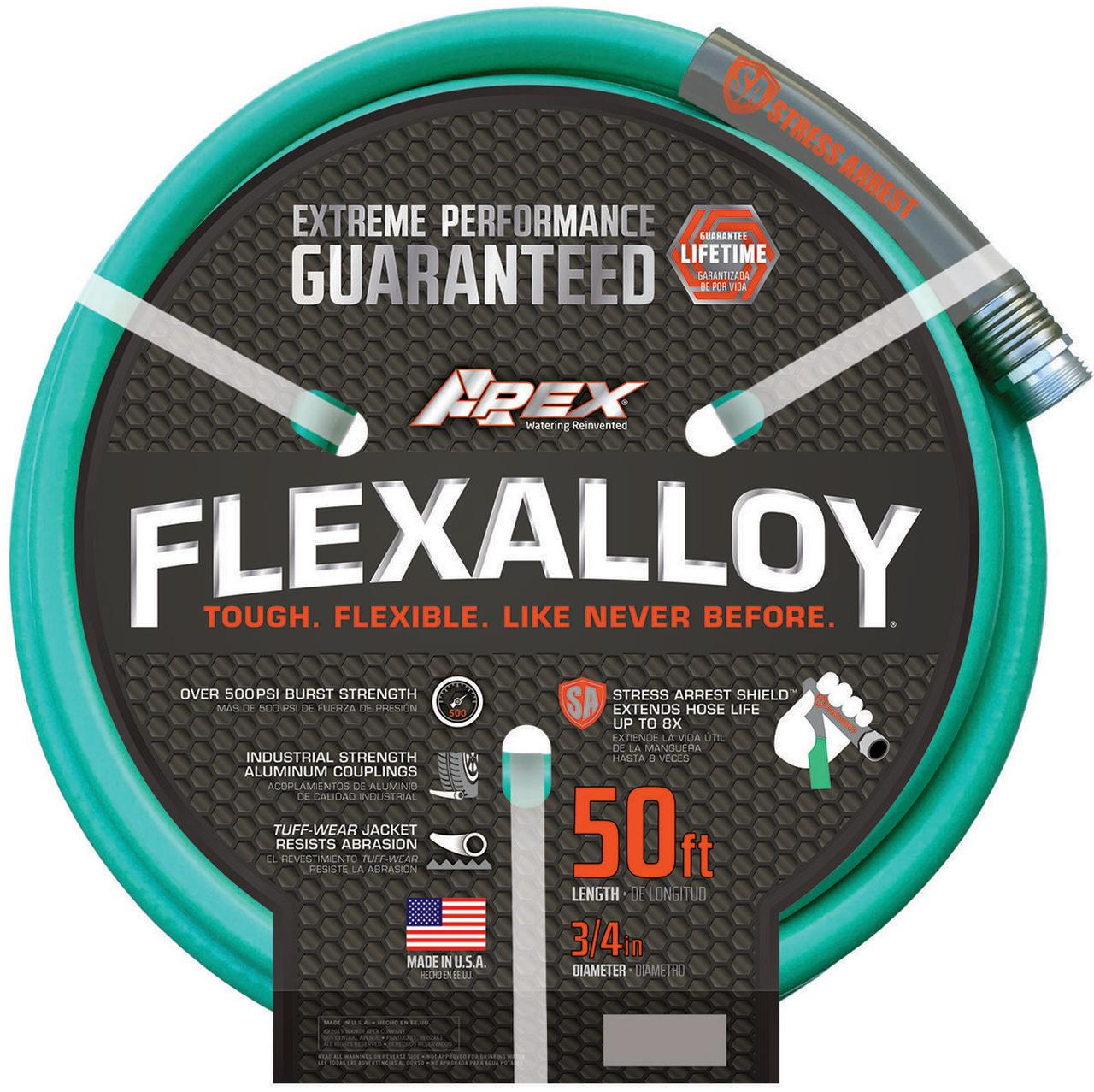 Flexalloy 9550-50 Garden Hose With Power Coil, 3 4 in OD x 50 ft L by Teknor Apex